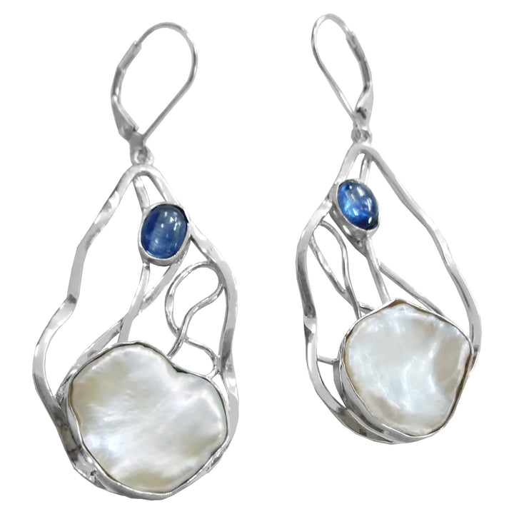 Keshi Pearl and Kyanite Long Drop Earrings