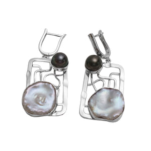 Square Keshi and Tahitian Pearl Earrings