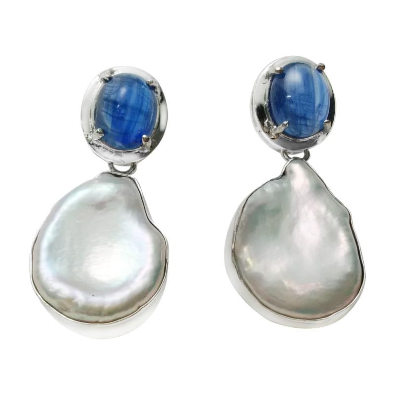 Short drop keshi pearl and kyanite earrings