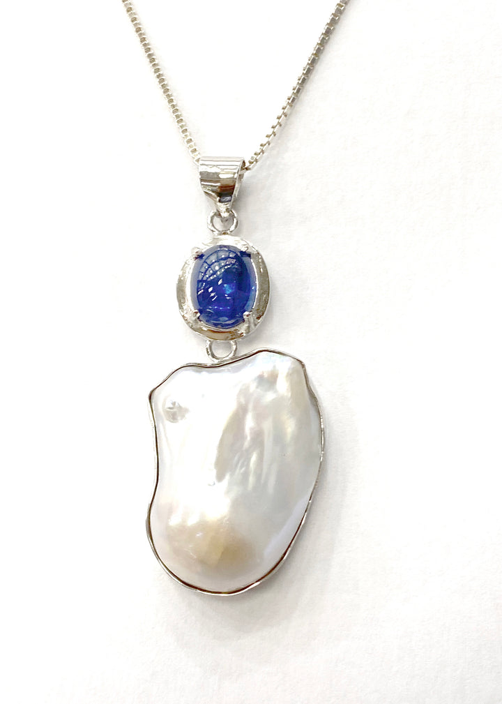 Large baroque Pearl and kyanite pendant