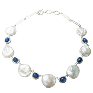 Keshi pearl and kyanite necklace