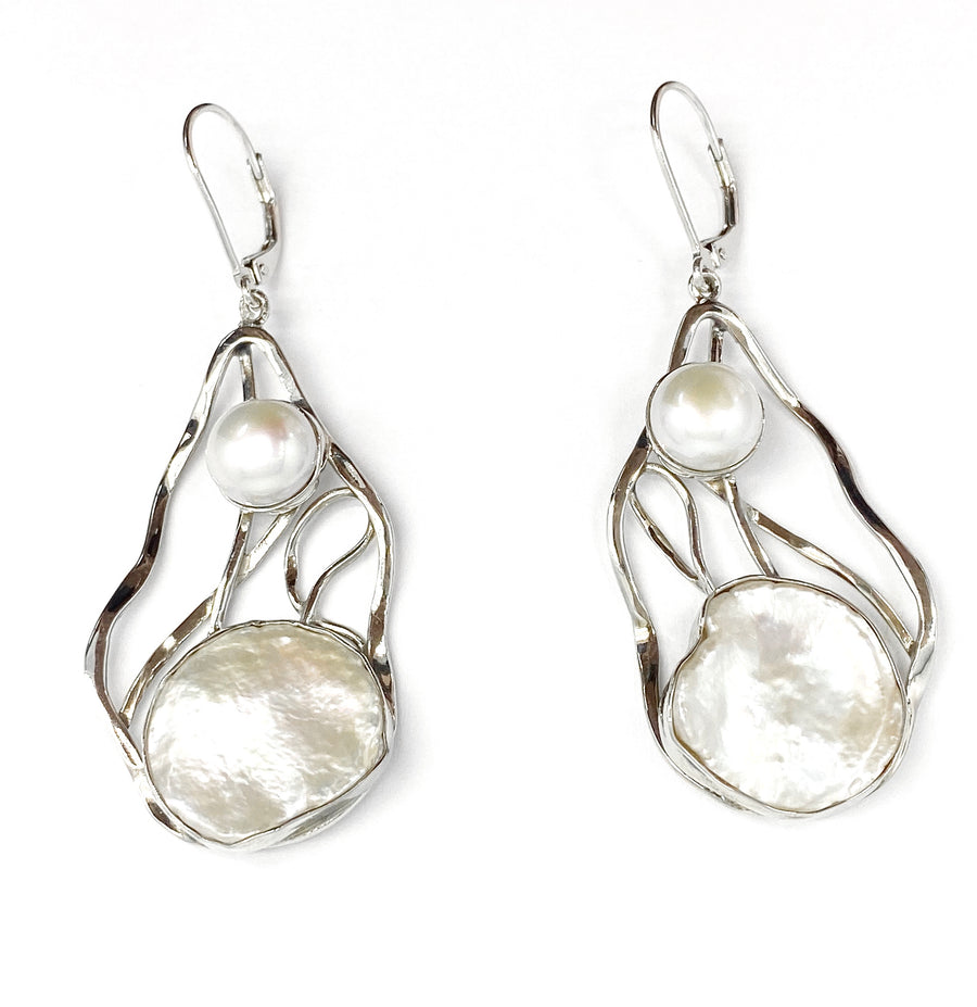 White Keshi and Freshwater Pearl Earrings