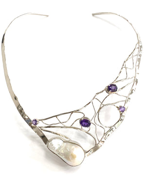 Baroque pearl and amethyst choker