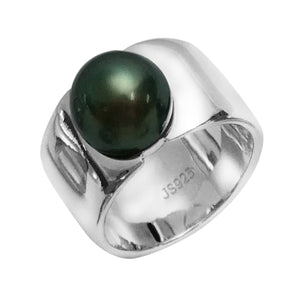 Wide Band Tahitian Pearl Ring