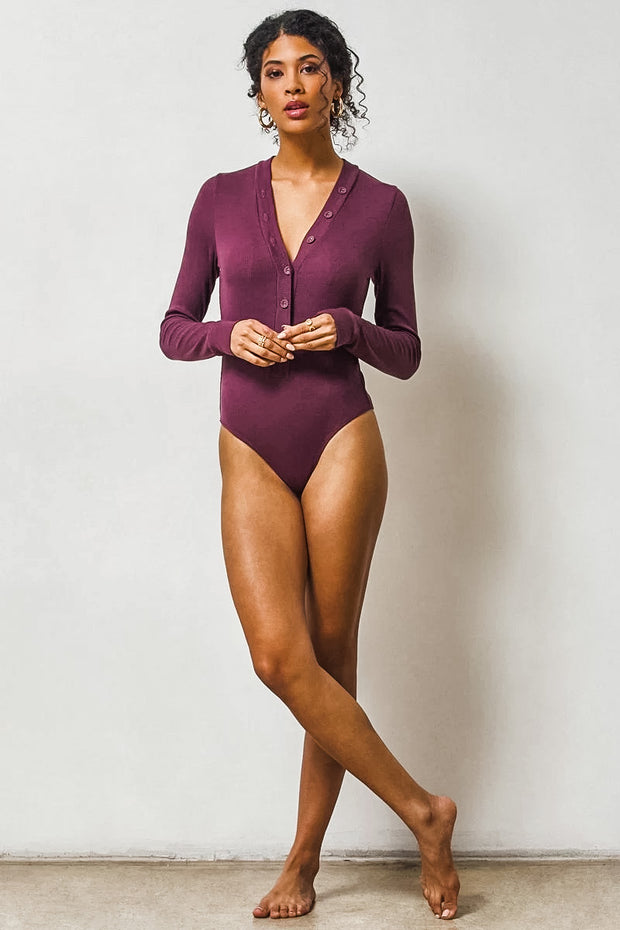 See You There Bodysuit in Fig
