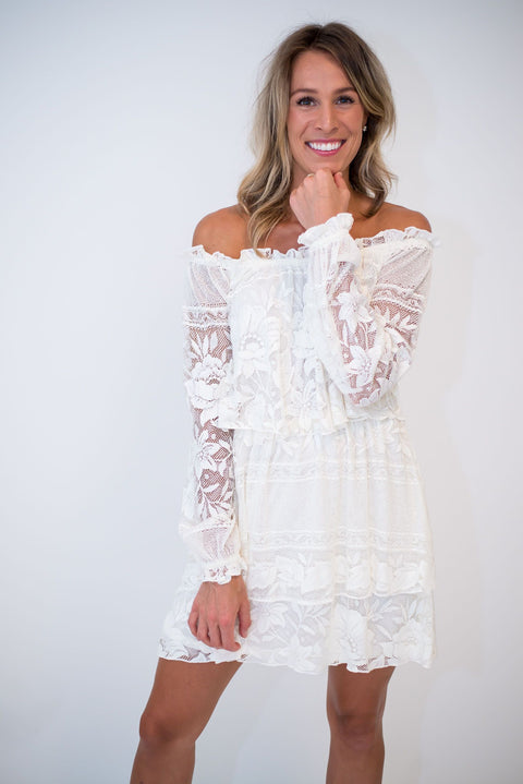 Bess Moonlight Lace Cream Dress