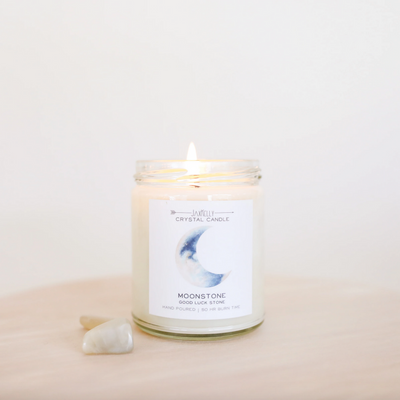 Moonstone Citrus Crystal Candle - Brings Good Luck
