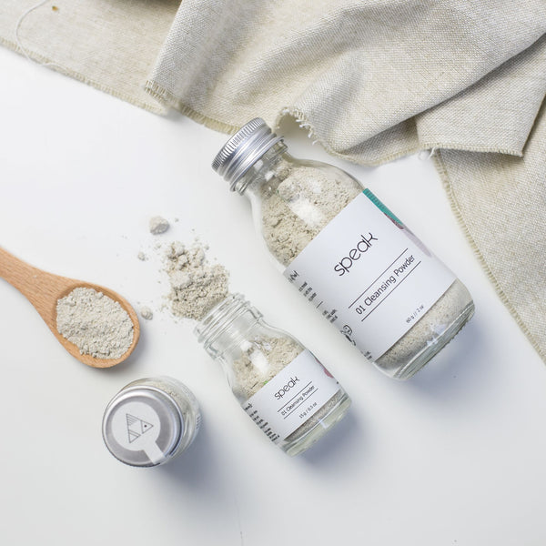 Speak Cleansing Powder - a sensitive skin cleanser formulated for eczema prone skin, contains the goodness of organic oats, sweet almond oil and kaolin clay.