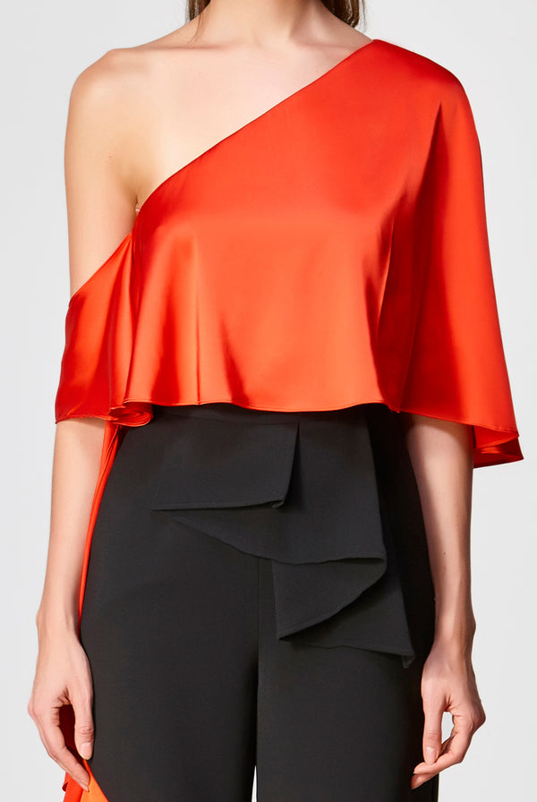 Dawn Asymmetrical Top - Tangerine