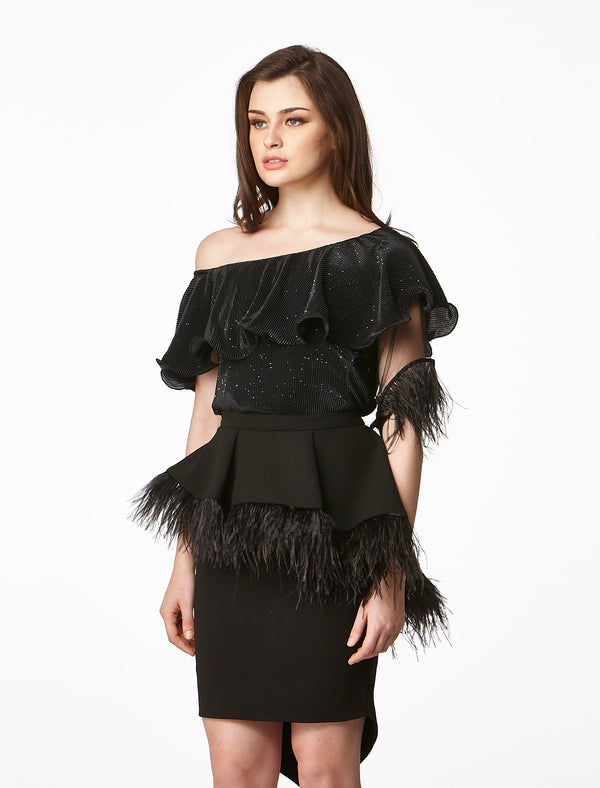 MOS Toga Feather Sleeve Top