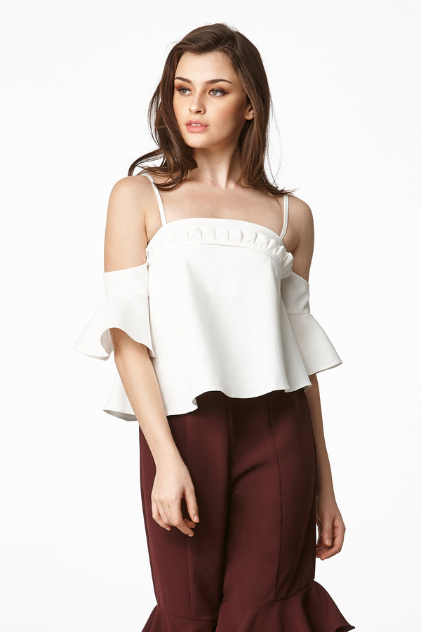 MOS NOW Cold Shoulder Top - White
