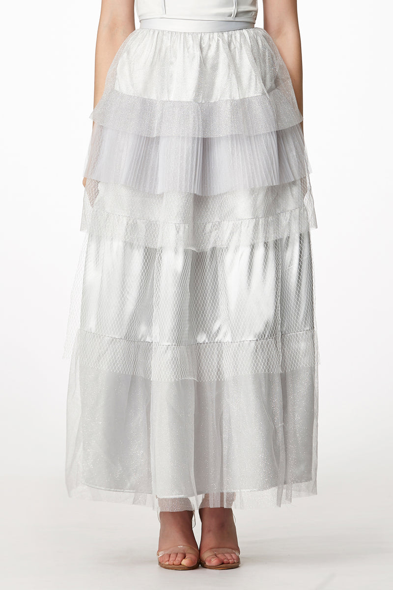MOS Layered Net Skirt - Silver