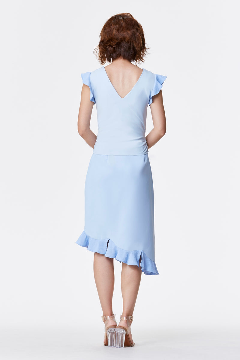 JÙ 聚/剧 NOW Scallop Skirt - Pastel Blue