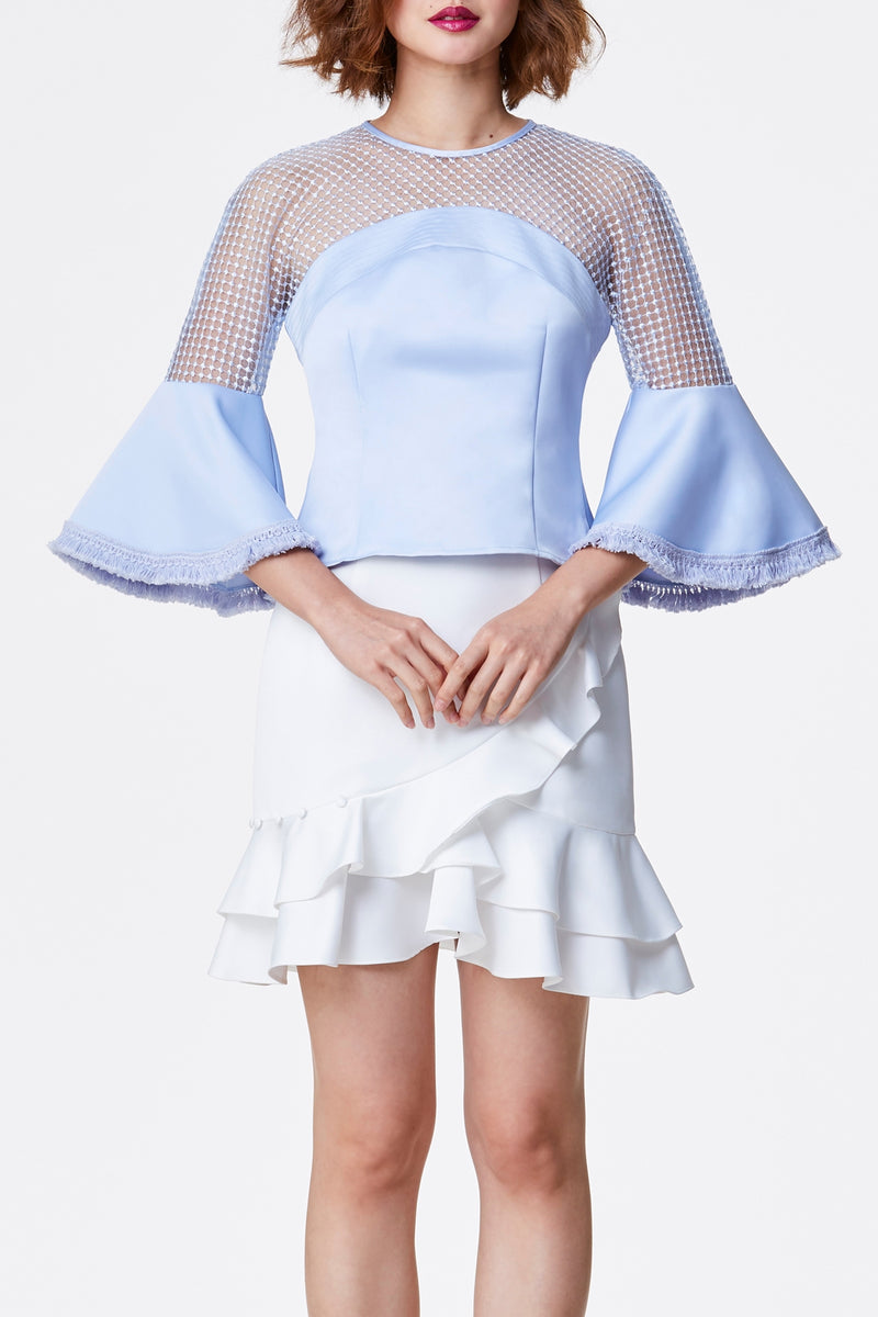 JÙ 聚/剧 Dotted Lace Top - Pastel Blue