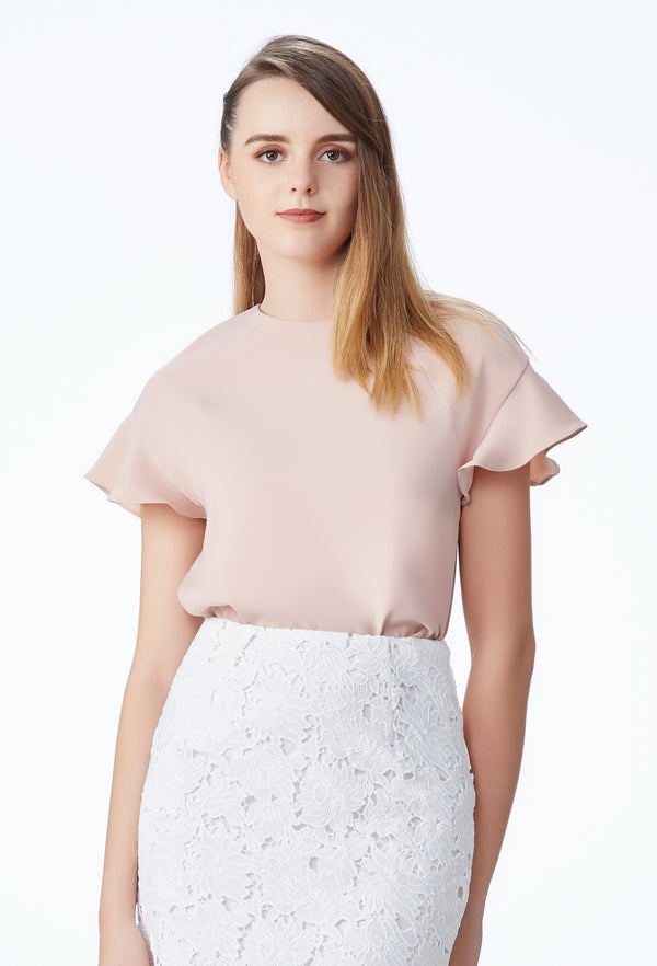 SS'18 NOW Frill Sleeve Loose Top - Peach Pink