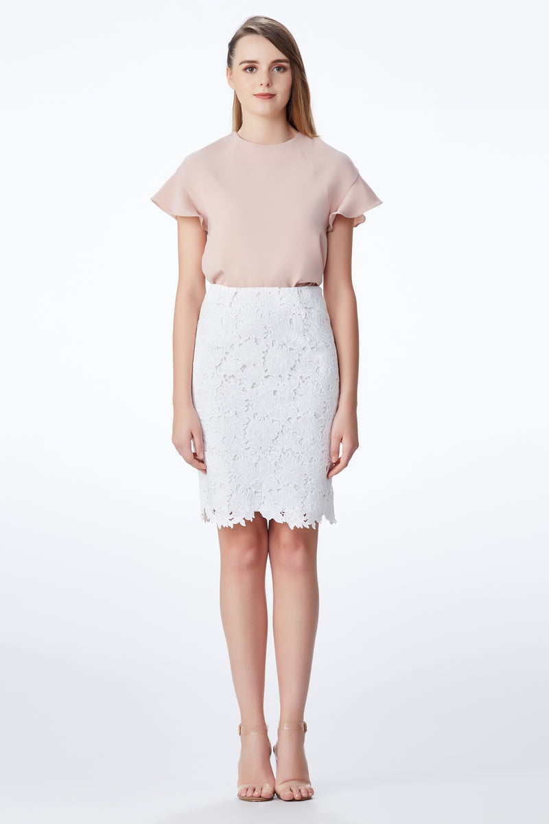 SS'18 Lace Pencil Skirt - White