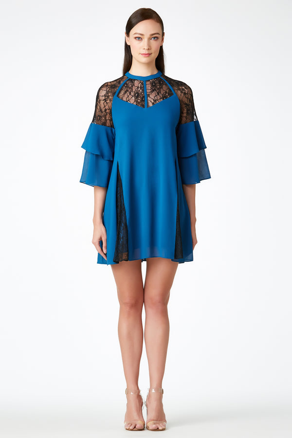 SS'18 Tiered Sleeve Shift Dress - Cyan