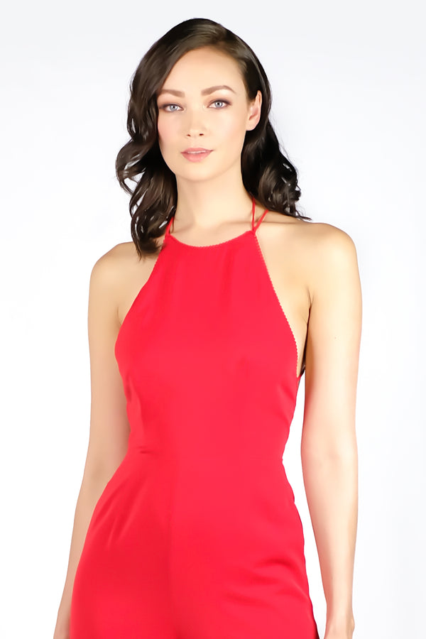 AW'18 Bare Back Jumpsuit - Hot Red