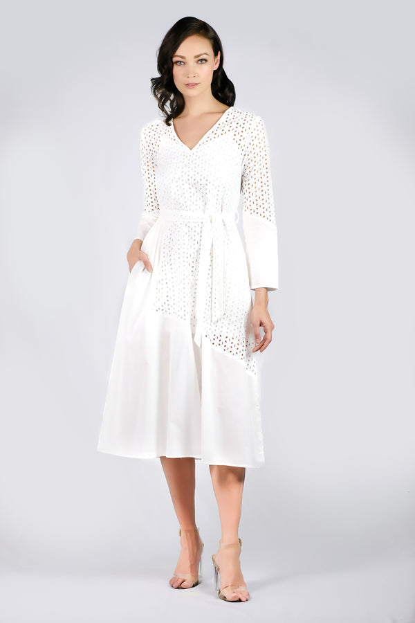 AW'18 Long Sleeve Lace Maxi Dress - White
