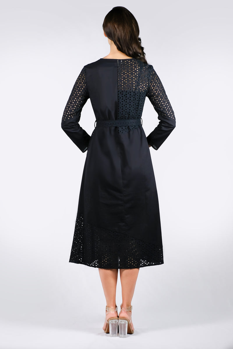 AW'18 Long Sleeve Lace Maxi Dress - Black