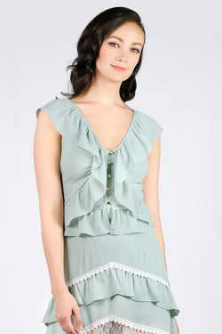 AW'18 Petal Ruffle Top - Green