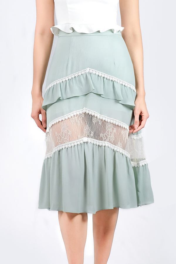 AW'18 Lace Panel Skater Skirt - Green