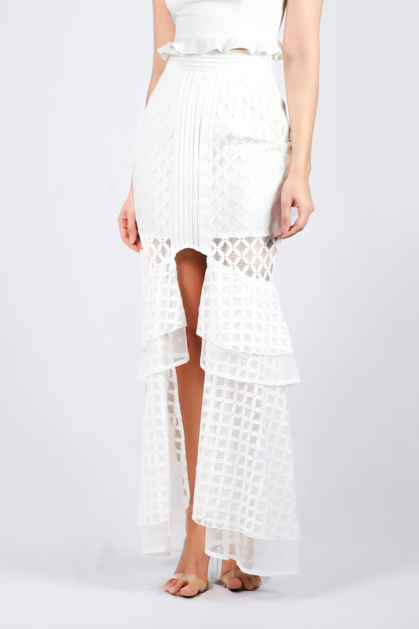 AW'18 Lace Mermaid Maxi Skirt - White