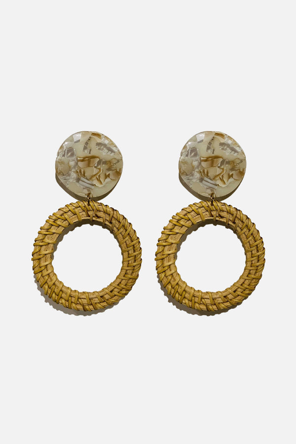 Marbled Resin Open Circle Rattan Earrings
