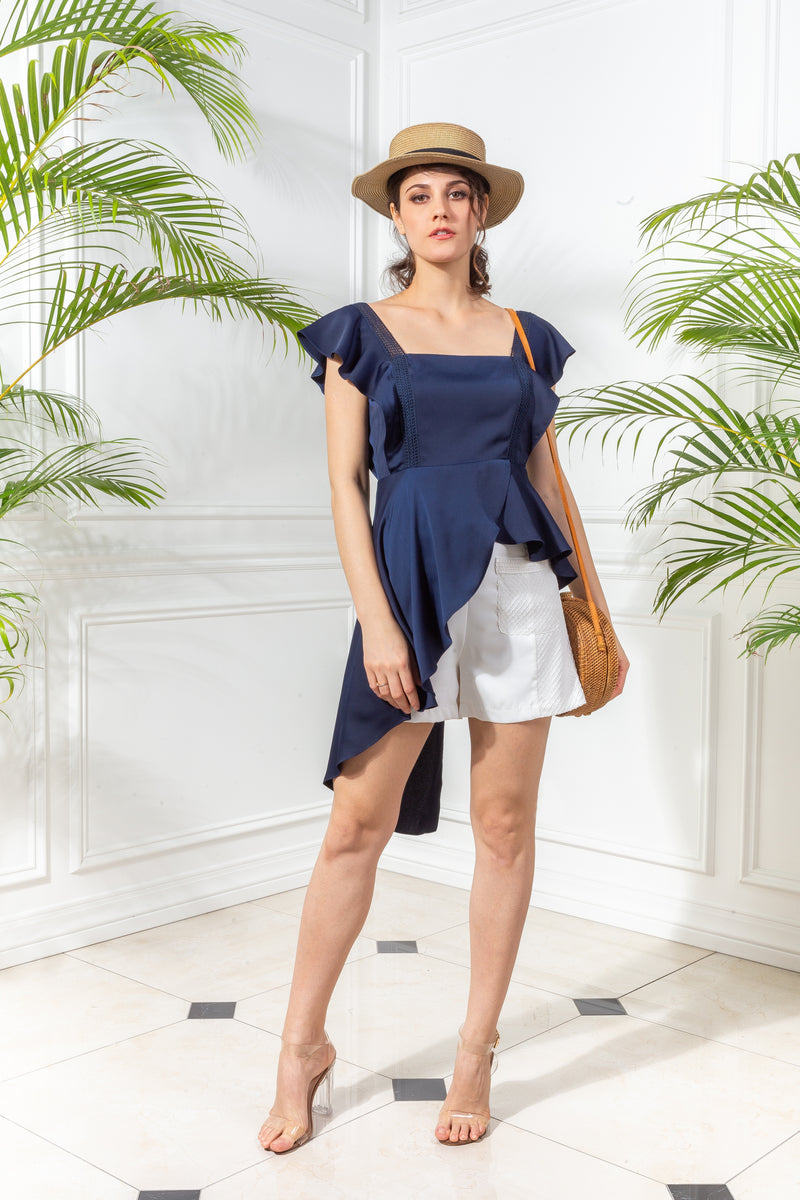 CAPSULE '19 Peplum Asymmetrical Top - Navy Blue