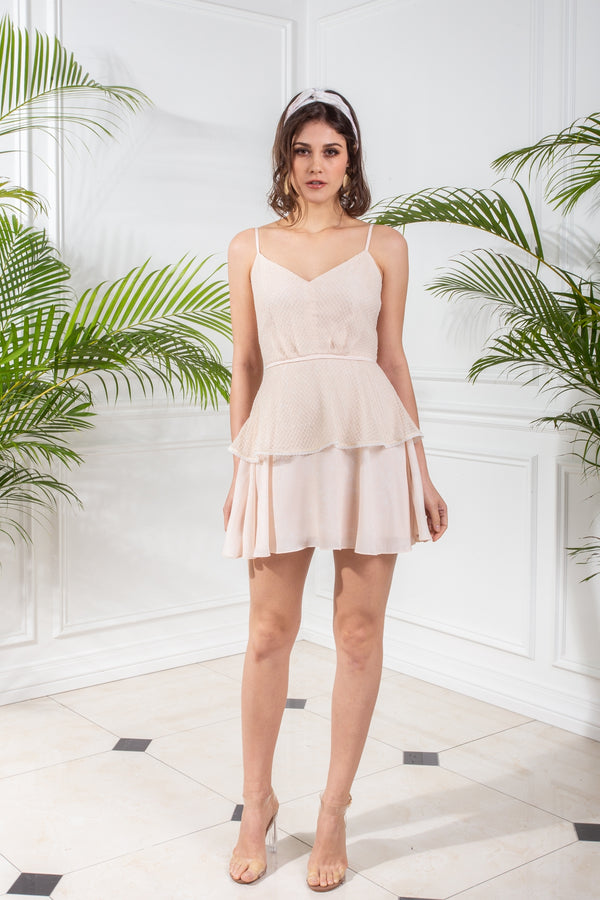 CAPSULE '19 Mesh Tiered Skater Dress - Beige