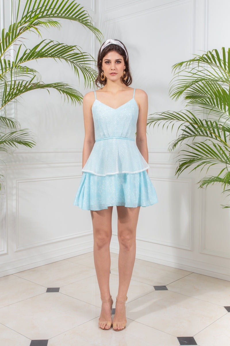 CAPSULE '19 Mesh Tiered Skater Dress - Turquoise
