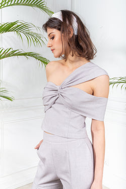 CAPSULE '19 One Shoulder Bustier - Gray