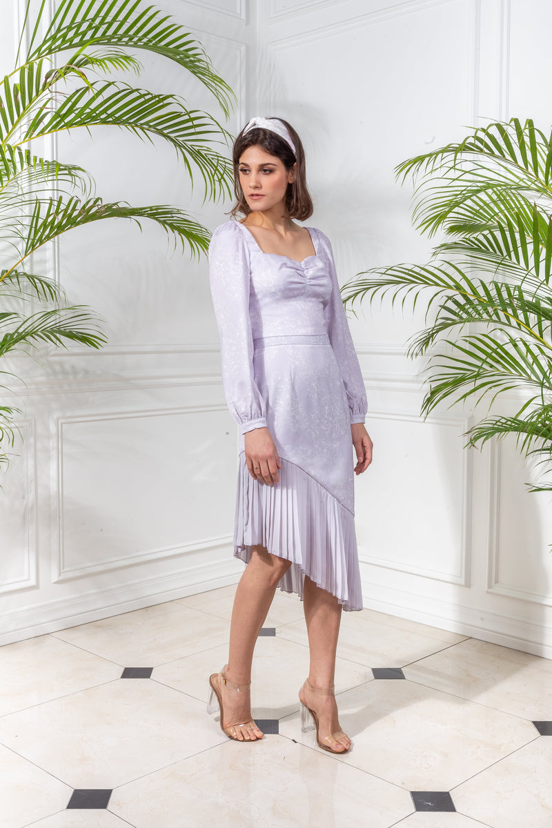 CAPSULE '19 Asymmetrical Pleated Skirt - Lavender
