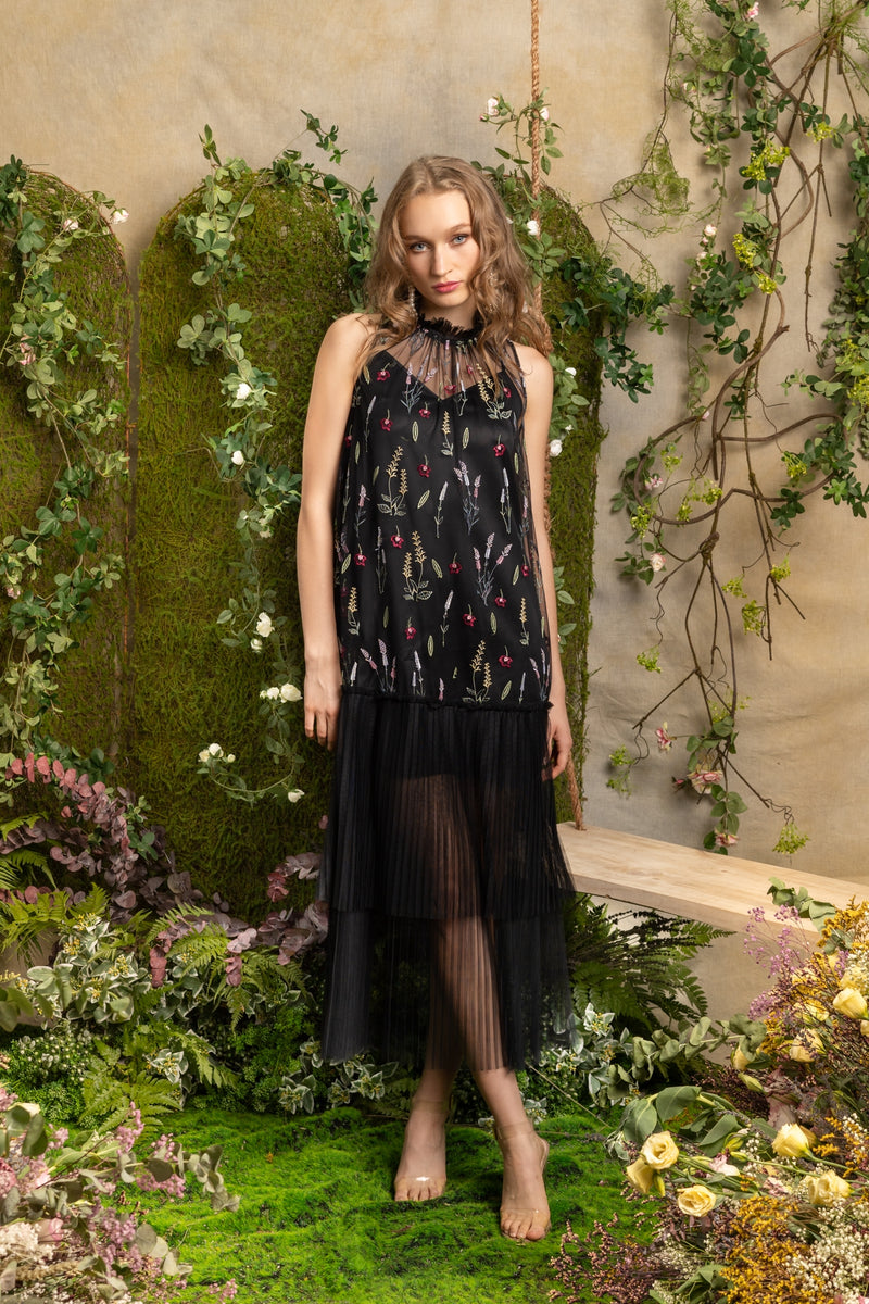SS'19 Embroidered Mesh Pleated Maxi Dress - Black