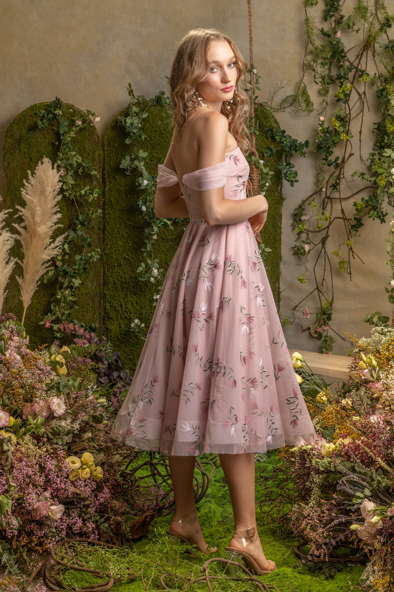 SS'19 Embroidered Tulle Dress - Pink