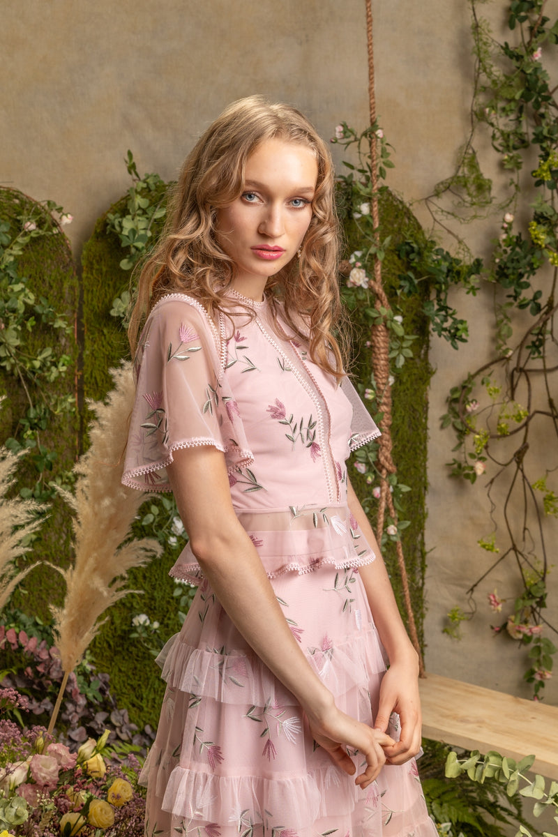 SS'19 Embroidered Peplum Top - Pink