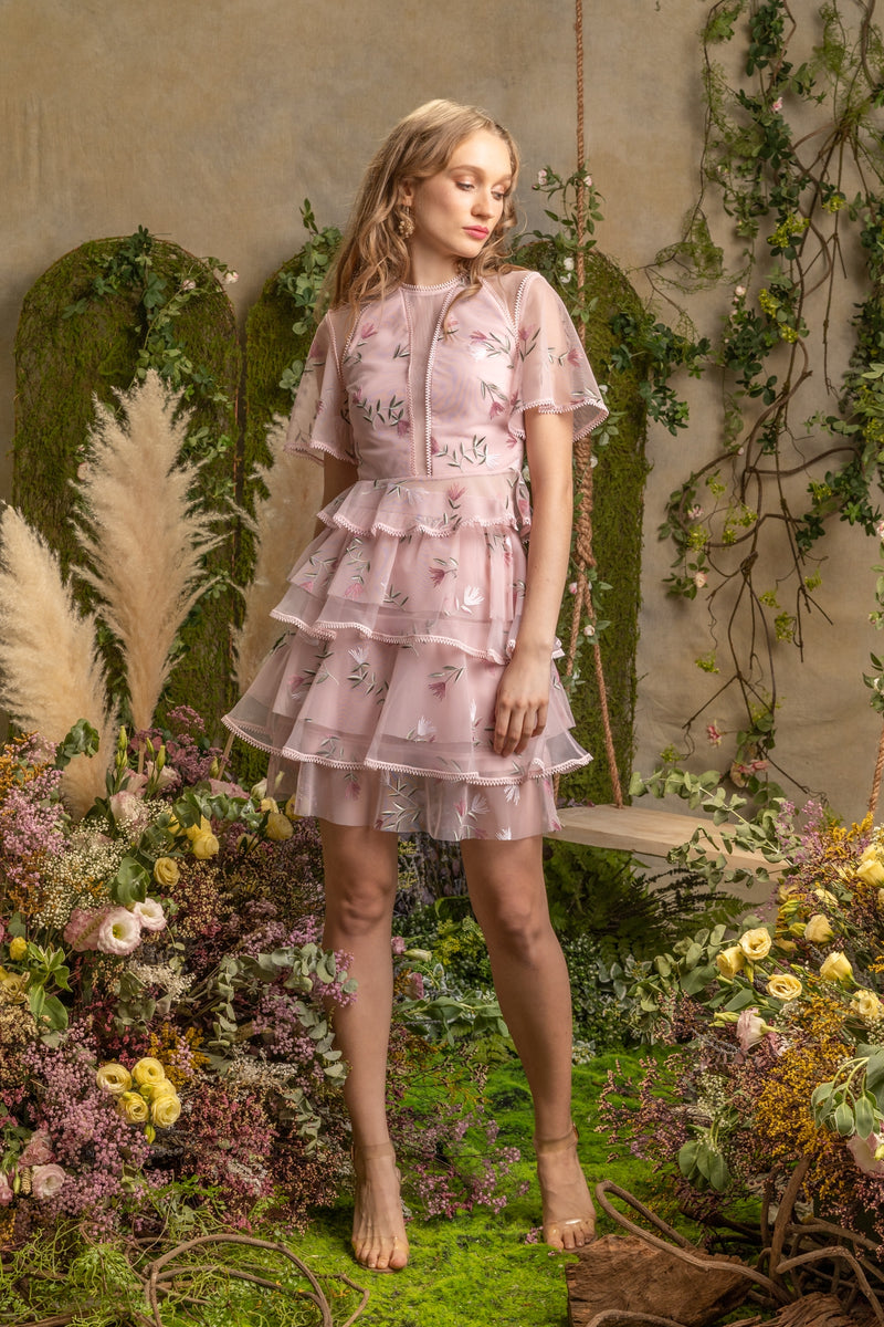 SS'19 Embroidered Tiered Skirt - Pink