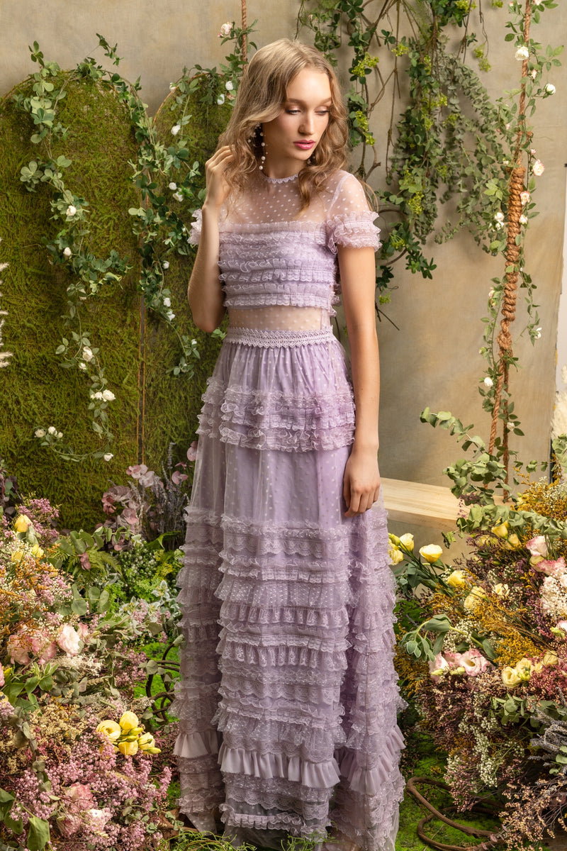 SS'19 Lace Ruffle Maxi Dress - Purple Lilac