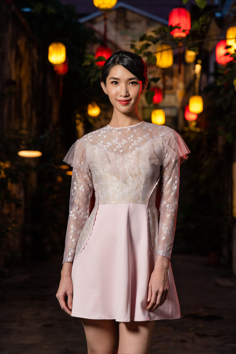 LNR'21 Long sleeve lace dress - Pink