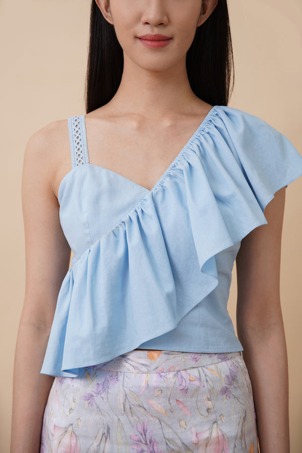 One Shoulder Top - Blue