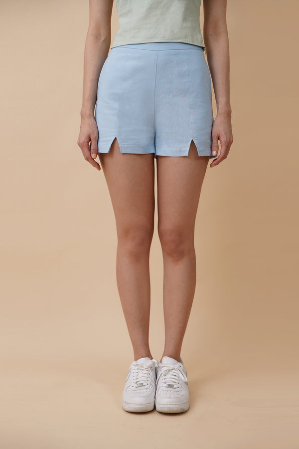 Front Slit Shorts - Blue
