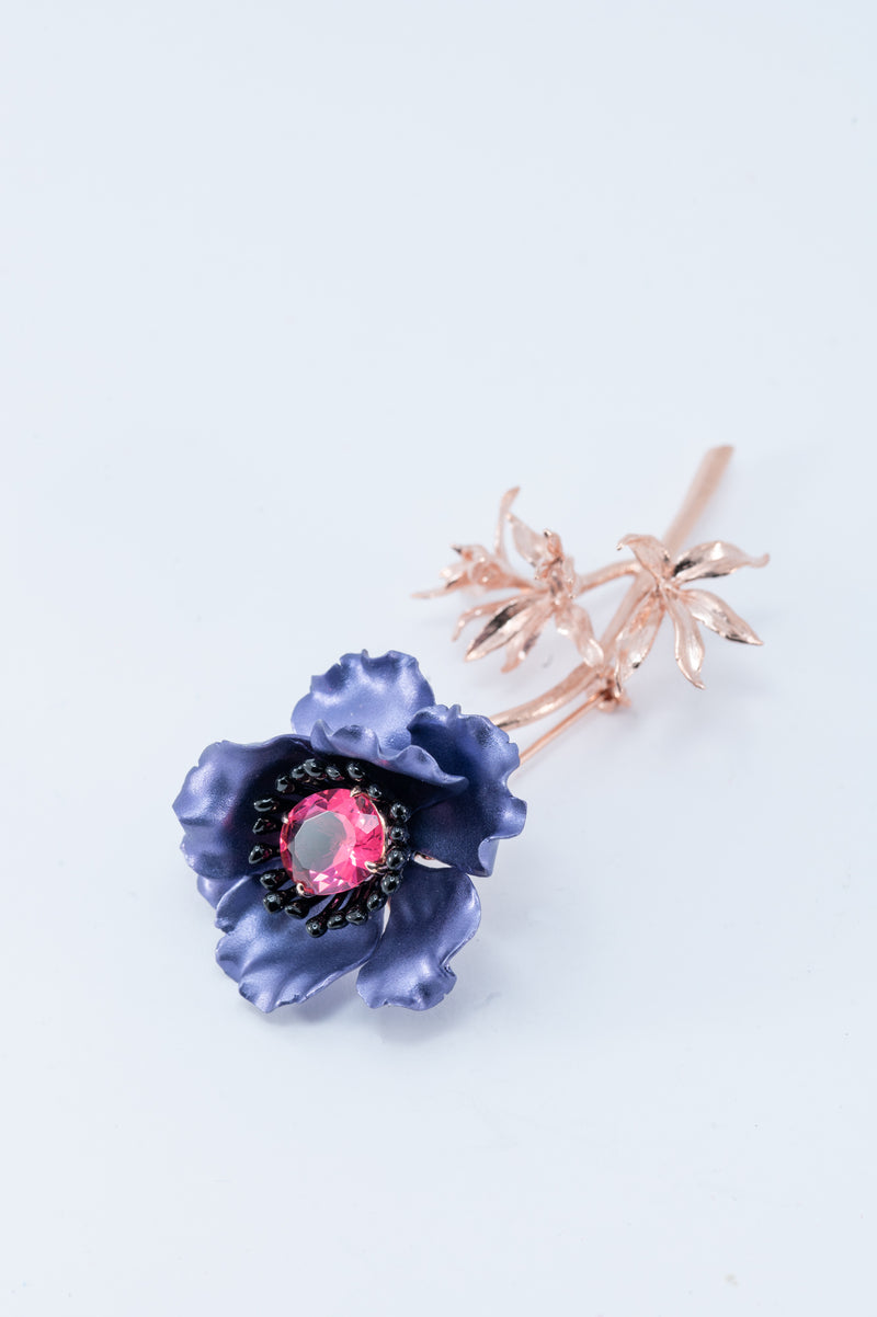 Flower Brooch - Purple