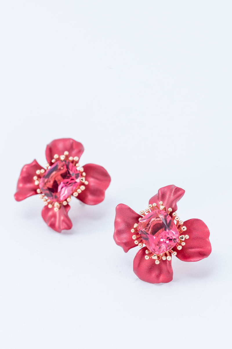 Flower Earring - Red
