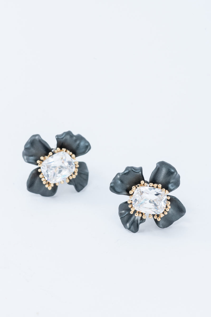 Flower Earrings - Black