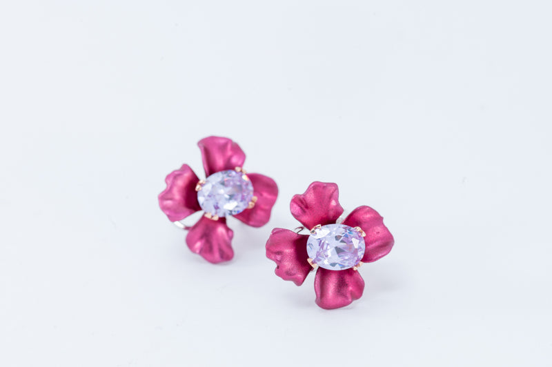 Flower Earrings - Purple