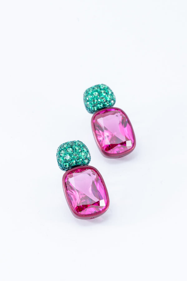 Cushion Drops with Round Top Earrings - Green