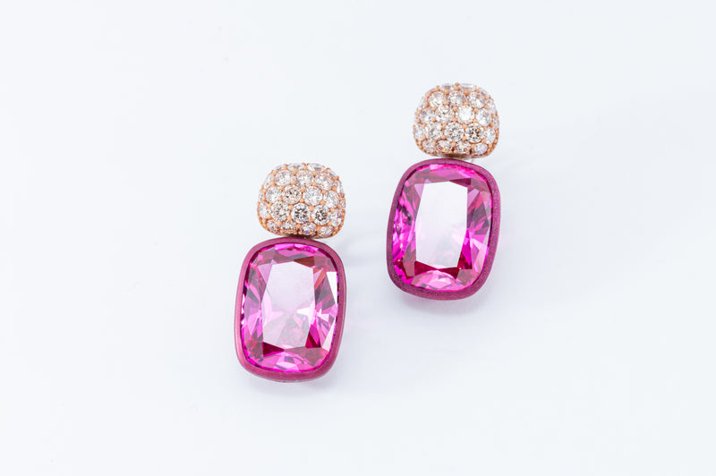 Cushion Drops with Round Top Earrings - Champagne