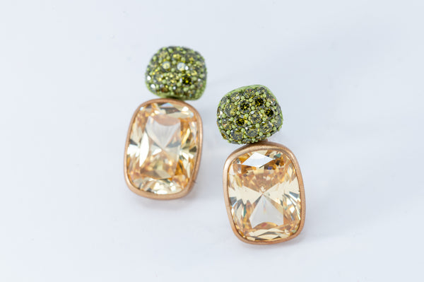 Cushion Drops with Round Top Earrings - Gold