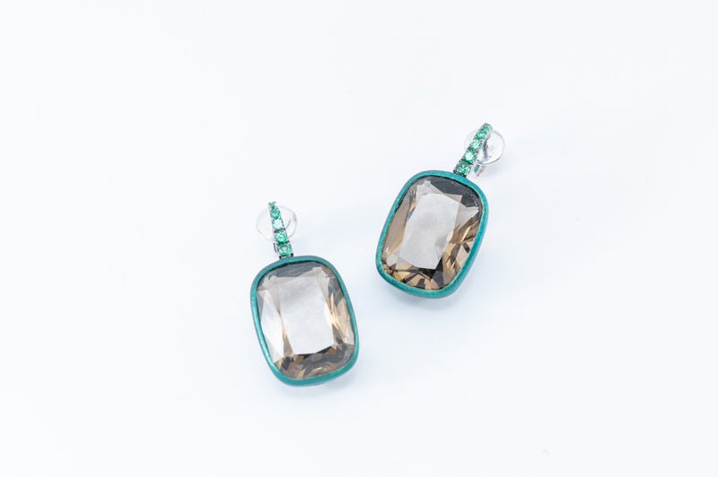 Cushion Drops Earrings - Green