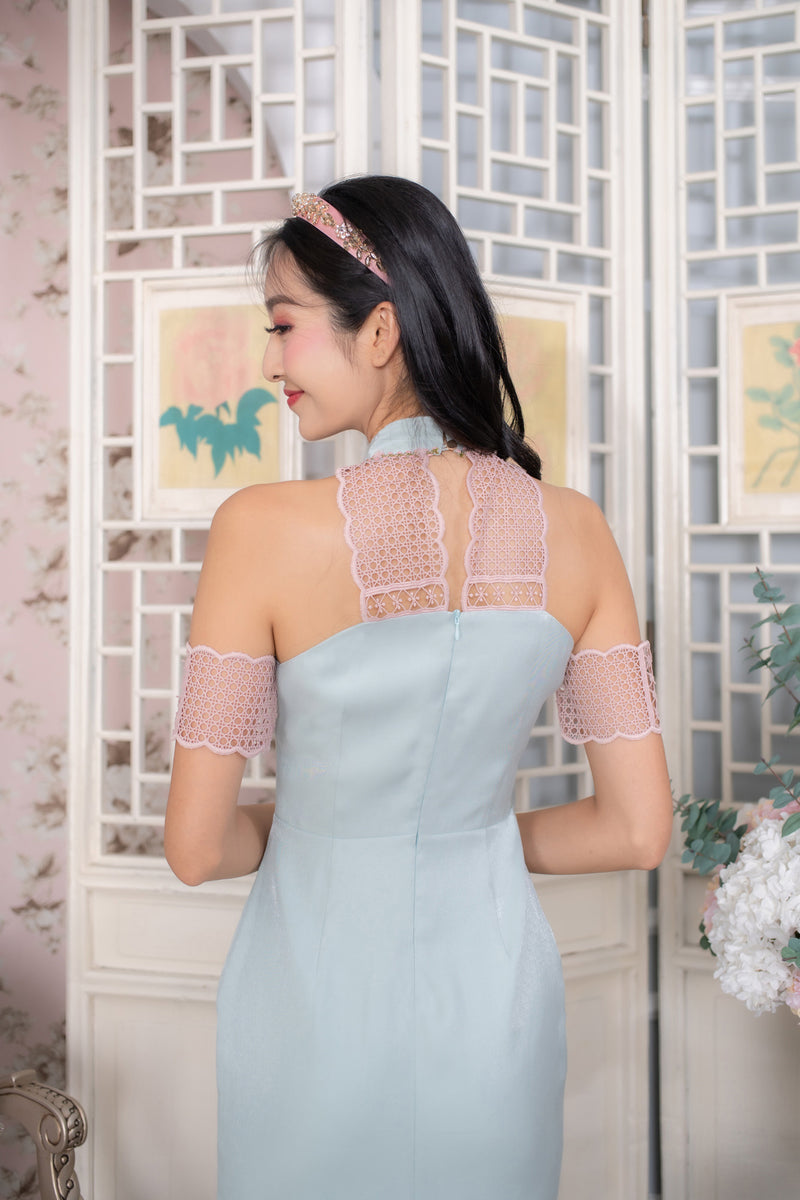 LNR'20 Cold Shoulder Cheongsam - Pastel Blue
